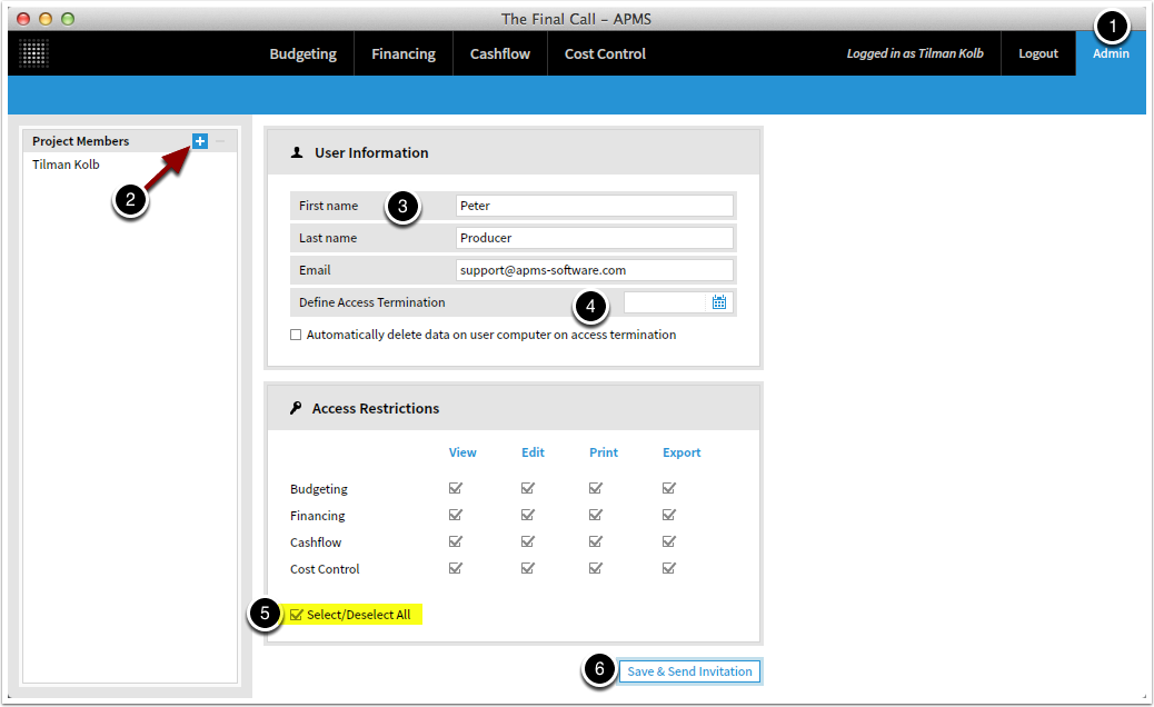 Add user from Project Admin panel