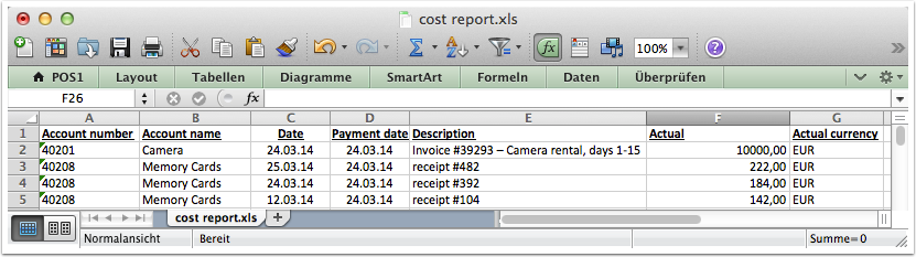 Exporting accounting data