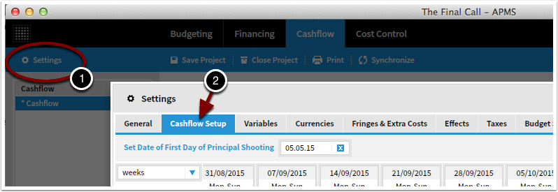 Go to Settings, Cash Flow Setup