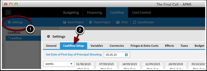 Go to Settings, Cash Flow Setup