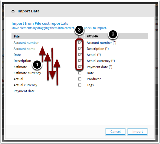Import the file into APMS