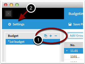 Manage budgets, settings