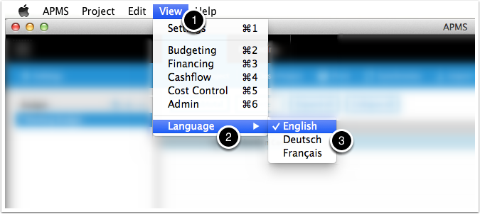 You can switch APMS language from the 'View' menu